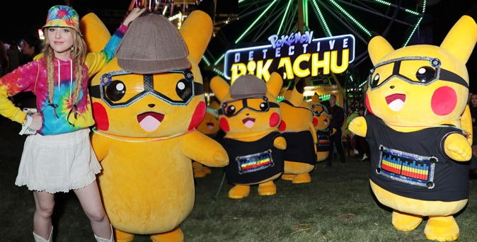 งานเปิดตัวหนัง Pokemon Detective Pikachu ส่งก๊วนพิคาชูดุ๊กดิ๊กในงาน Neon Carnival Coachella 2019